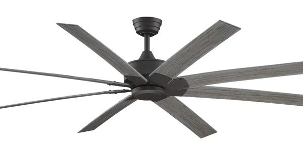 "63"" Levon – 8-blade indoor/outdoor fan. Features matte greige finish"