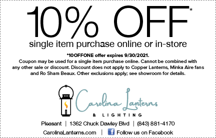 Carolina Lanterns 10% Off lighting, fans and home decor
