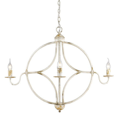 Caspian Collection 4-Light Chandelier in Antique Ivory Golden Lighting 0830-4 AI