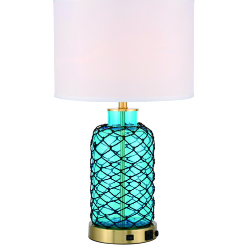 Sirena Collection 1-Light Table Lamp in Brushed Brass and Sea Blue with Off White Linen Shade Elegant Lighting TL3033BR