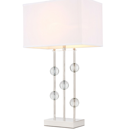 Rene Collection 1-Light Table Lamp in Polished Nickel with Rectangular Off White Linen Shade Elegant Lighting TL3025PN