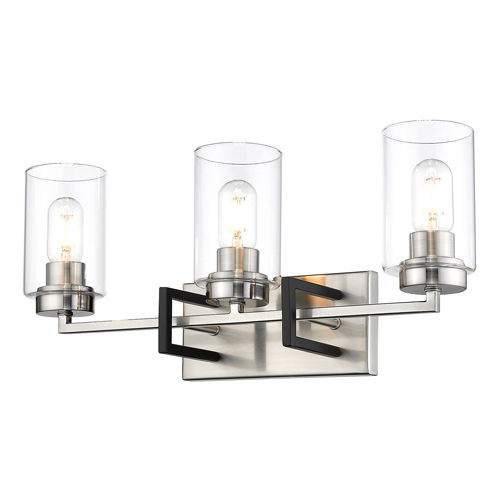 Tribeca Collection 3-Light Bath Vanity in Pewter with Clear Glass Cylinder Shades Golden Lighting 6070-BA3 PW-BLK