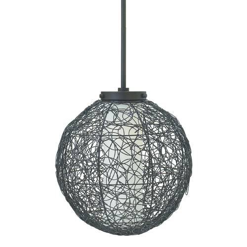Spago Collection 1-Light Mini Pendant in Vintage Bronze with Hand-Woven Metal Shade Fredrick Ramond FR34774VBZ