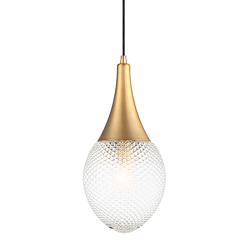 Mmin2 Collection 1-Light Mini Pendant in Natural Brass with Diamond-Textured Clear Glass Shade Meridian M70065NB