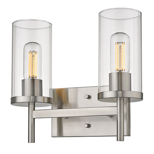 Winslett Collection 2-Light Bath Vanity in Pewter with Clear Cylinder Shades Golden Lighting 7011-BA2 PW-CLR