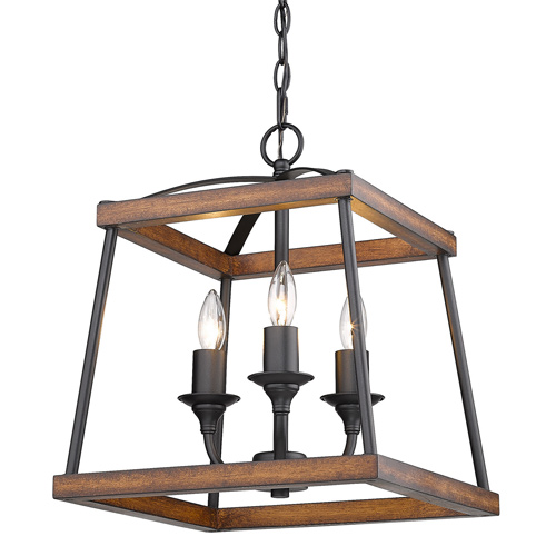 Teagan Collection 3-Light Pendant in Natural Black with Rustic Oak Wood Accents Golden Lighting 3184-3P NB-RO