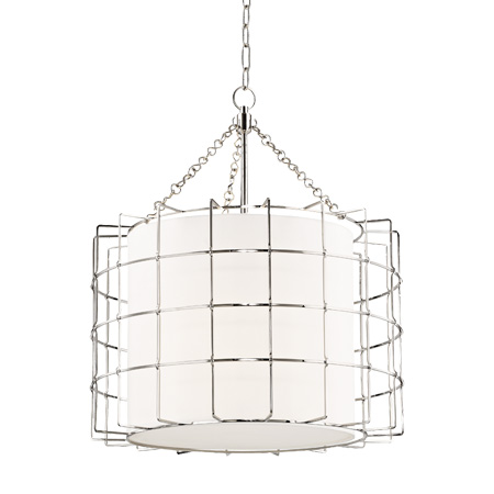 Sovereign Collection LED Chandelier in Polished Nickel with Round Linen Shade Hudson Valley 1524-PN