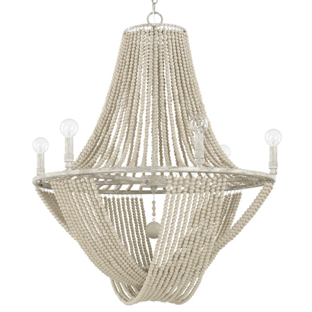 Kayla Collection 12-Light Chandelier in Mystic Sand with Cascading Wooden Bead Strands and Rock Crystal Accents Capital Lighting 429501MS