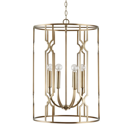 Jordyn Collection 6-Light Foyer Pendant in Aged Brass with Trellis Pattern Capital Lighting 538961AD $690.00