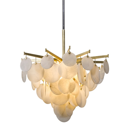 Serenity Collection LED Pendant in Gold Leaf with Polished Stainless Steel Accents and Opaque Natural Stone Disks Corbett Lighting 228-43