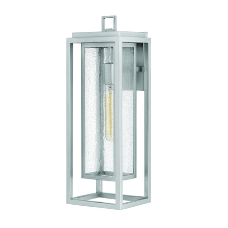 Republic Collection 1-Light Wall Mount Lantern in Satin Nickel with Clear Seedy Glass Panels Hinkley 1005SI