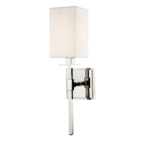Taunton Collection 1-Light Wall Sconce in Polished Nickel with Off-White Linen Box Shade Hudson Valley 4400-PN